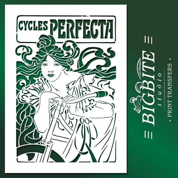 #087 #Chic, #Wall,  Shabby Chic, Wall, Furniture  Stencil:Art Nouveau Stencil – Bicycle Perfecta Poster
