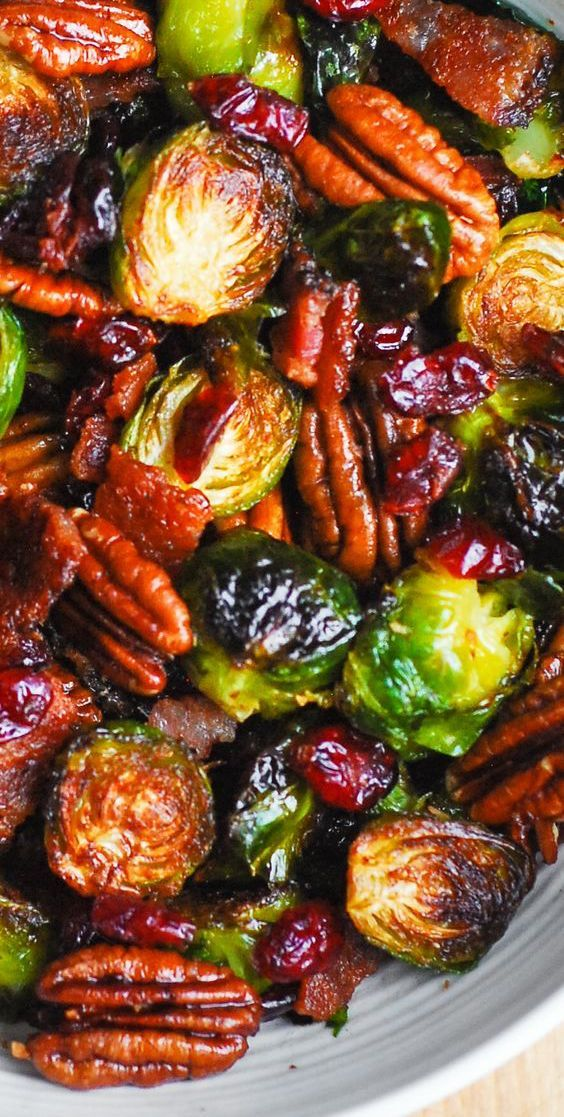 Christmas Brussels Sprouts with Bacon, Cranberries