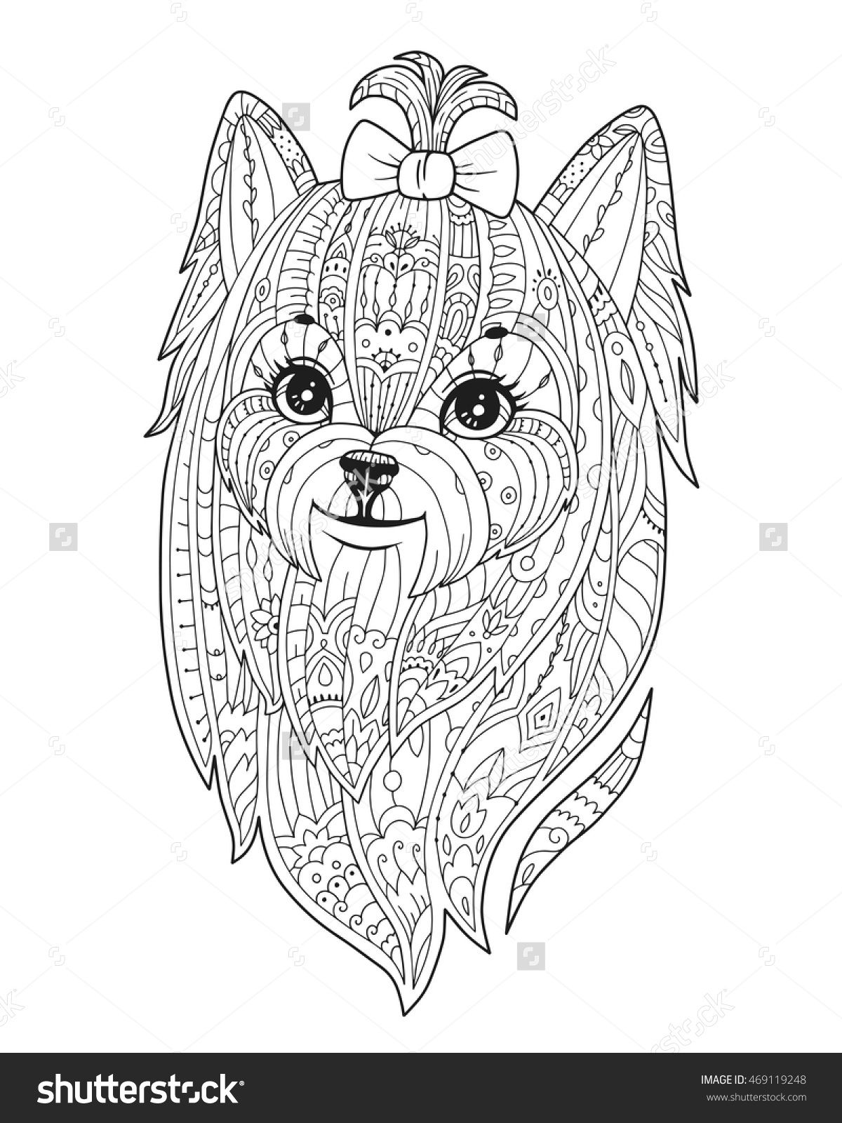 Adult Coloring Page With Purebred Dog In Zendala Style Doodle Yorkie Coloring Pages