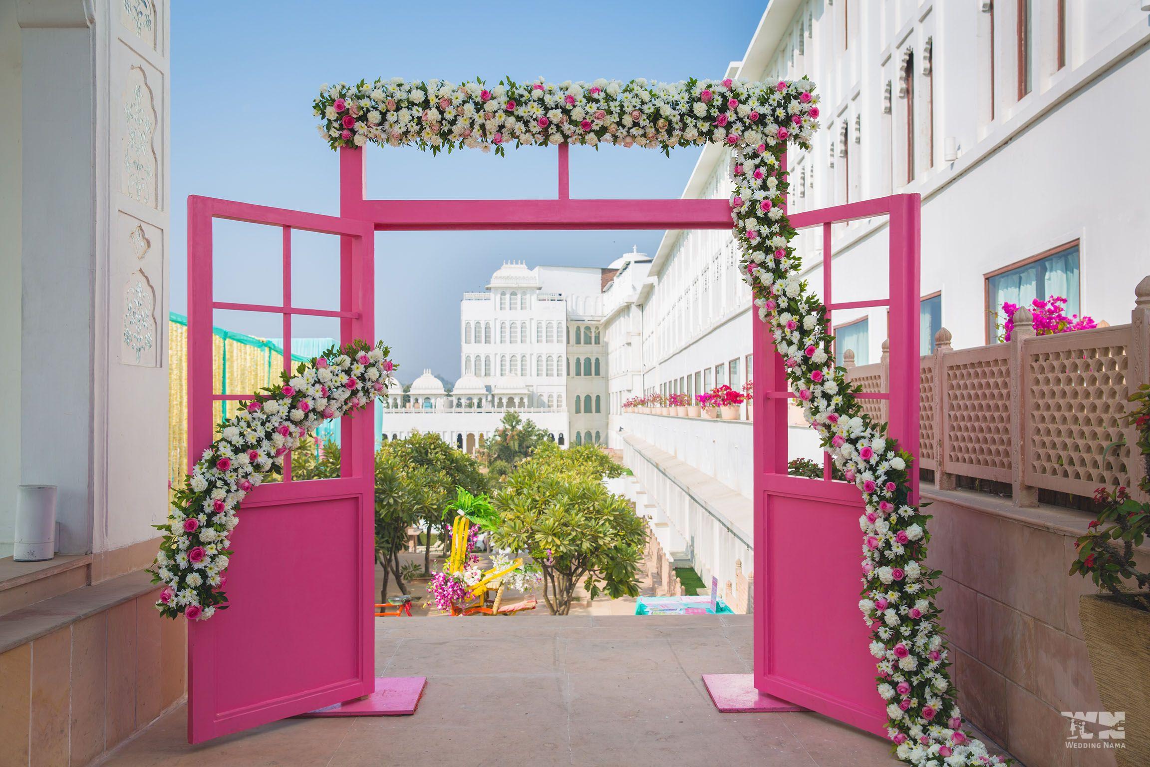 Rajasthani wedding stage decoration  Door to la la land pinkdoor weddingdecor decor decorideas