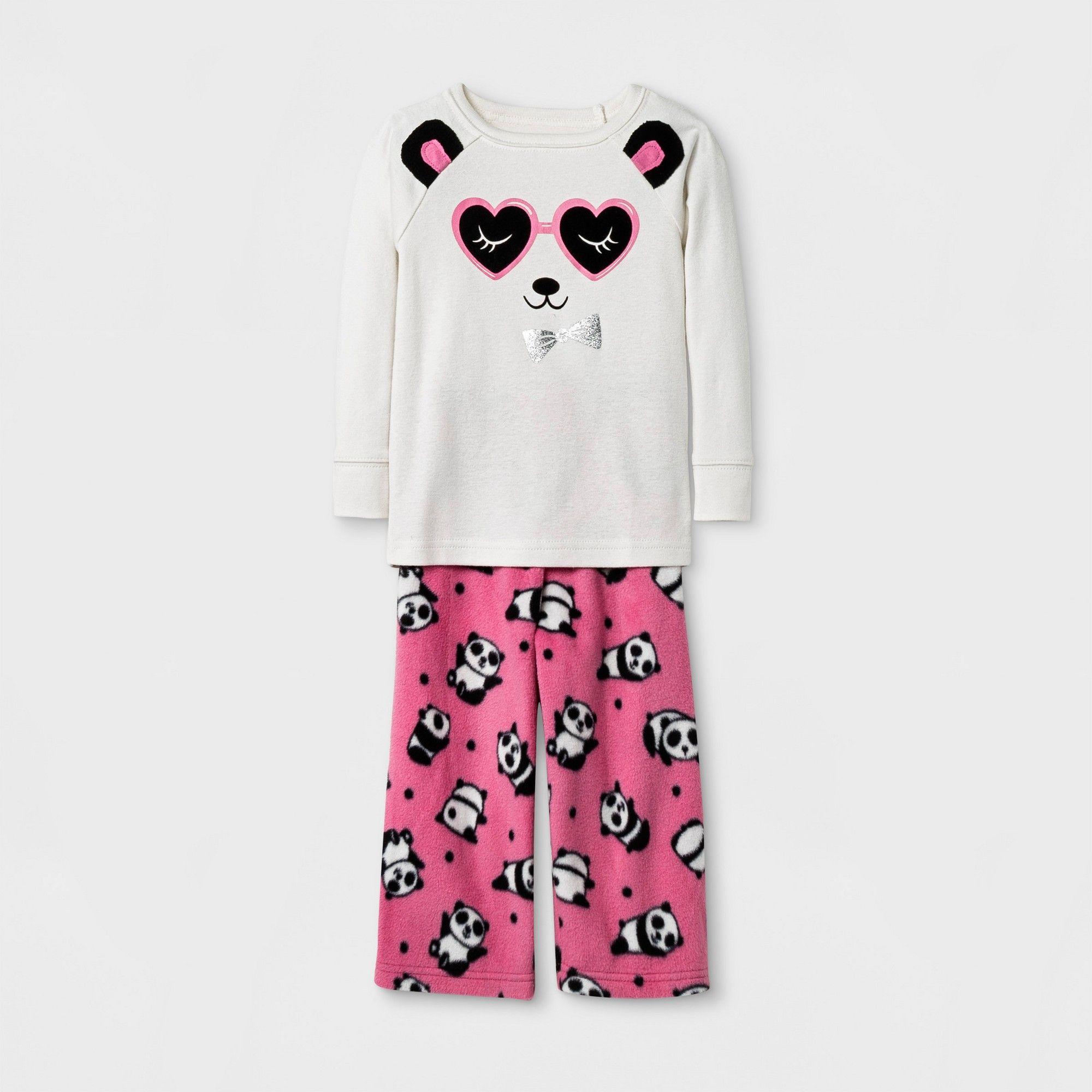 Toddler Girls' Panda Pajama Set - Cat & Jack Cream 12M, White