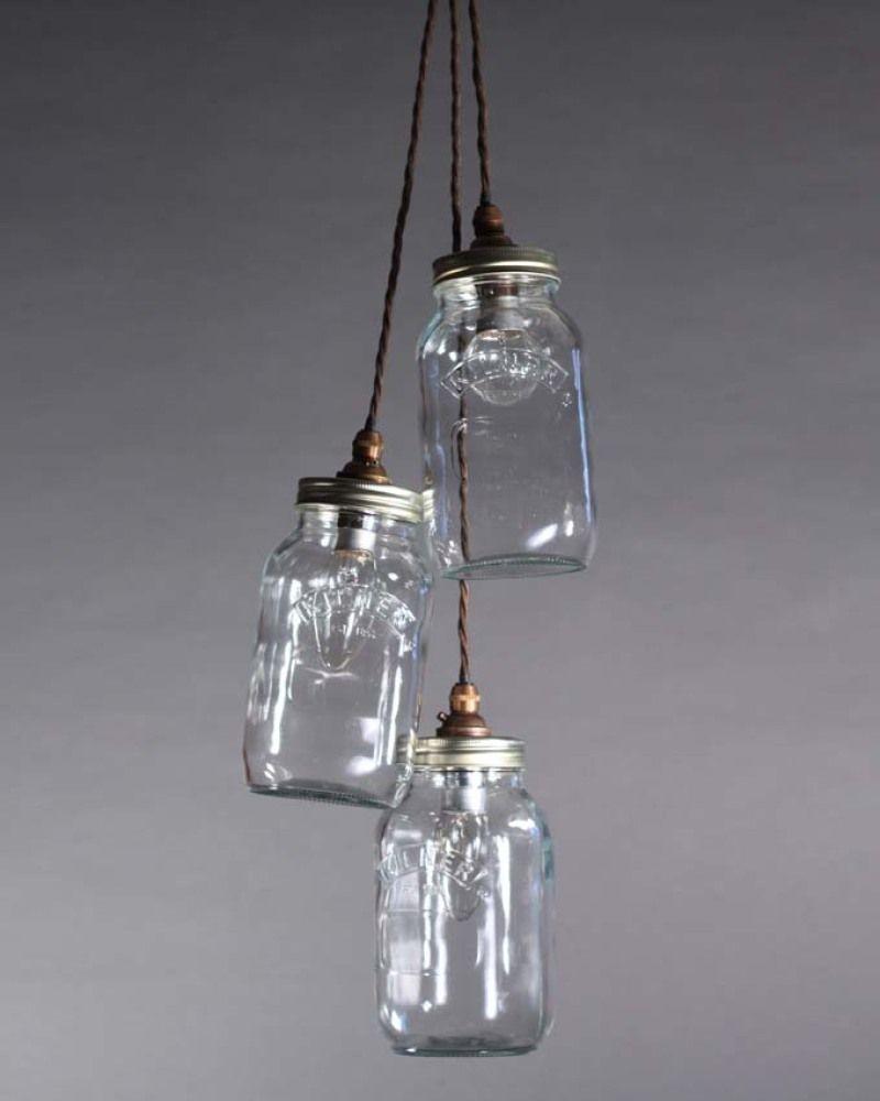 jar pendant lighting. £180 For 3 Jar Cluster Or £60 Single Jar. 1m Mason Pendant Lighting