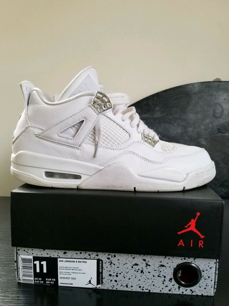 ccf7f2307530 RARE Nike Air Jordan Retro 4 IV 2017 Pure Money WHITE Silver Basketball