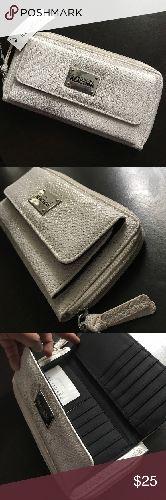 """NWT MSRP $55 Kenneth Cole Organizer Wallet Snake Beautiful shimmering white / silver / white gold shades over snake skin texture! This is like 2 wallets in one because it has a cards & bills pocket and extra room on the zippered compartment for extra cards, bills, etc. Fits your phone too! Measurements 9""""  x  4.5"""" x 2"""" New with tags. MSRP $50 plus tax Kenneth Cole Bags Wallets"""
