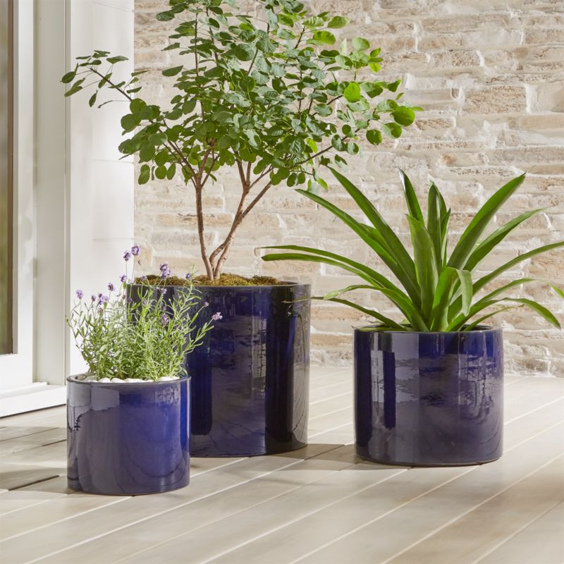 Maya Blue Ceramic Planters Crate And Barrel With Images 400 x 300