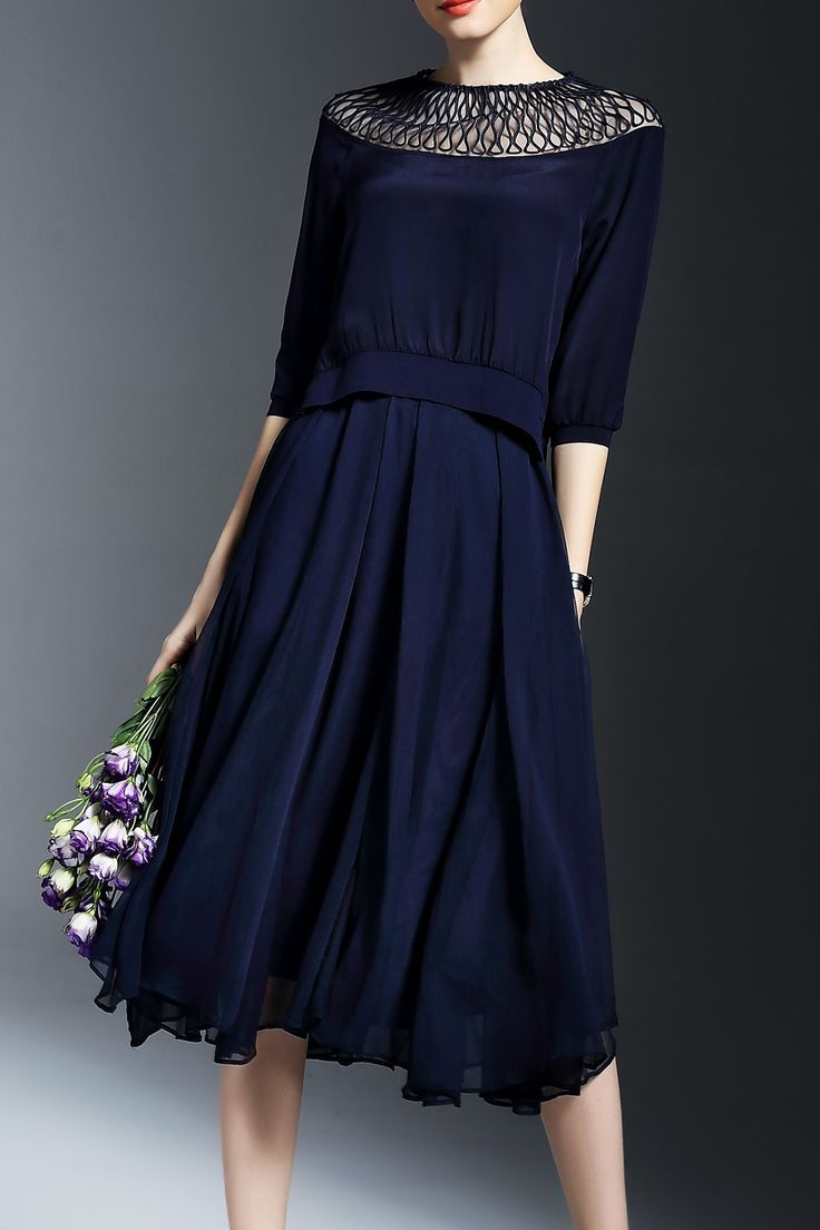 Joy&joso Purplish Blue Swing A Line Skirt With Silk Top | Skirts at DEZZAL.  Women's