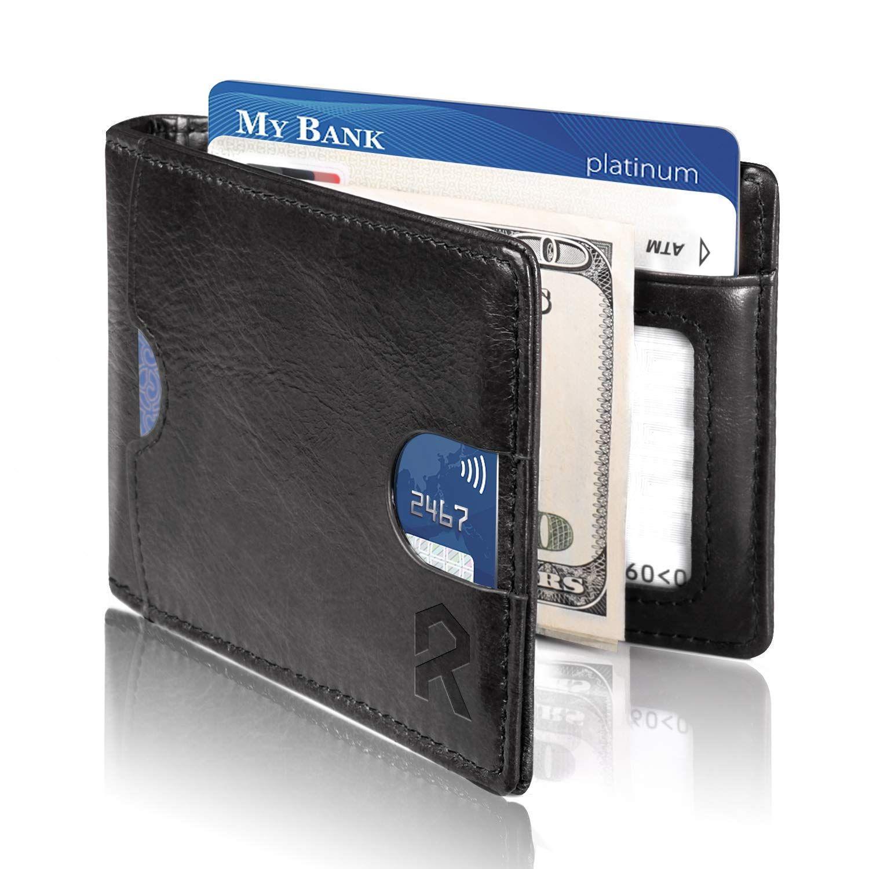 Genuine Leather Bifold Credit Card Wallet Pocket Card Holder Slim Case