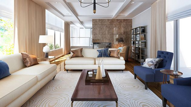 20 Nifty Living Rooms with Bronze Accents Blue accent chairs, Blue