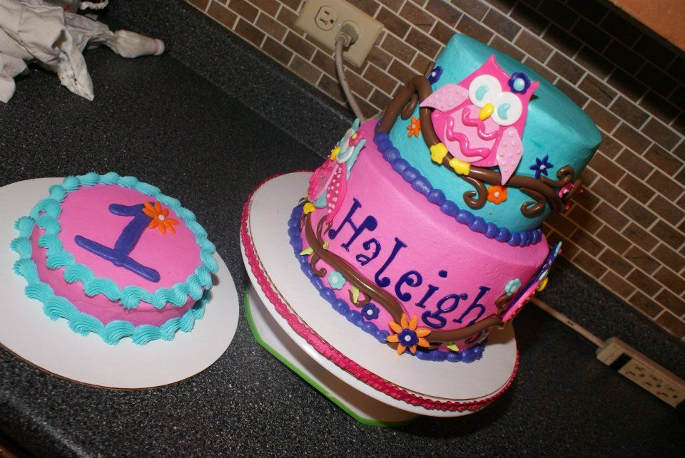 Owl First Birthday And Smash Cake Party Girl Cakes By Jennifer On