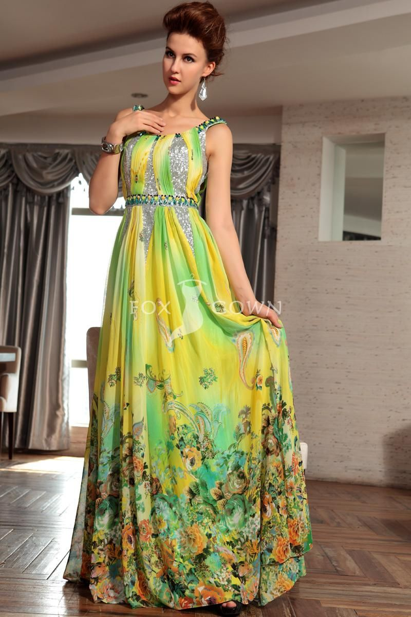 Yellow printed chiffon aline floor length evening dress with