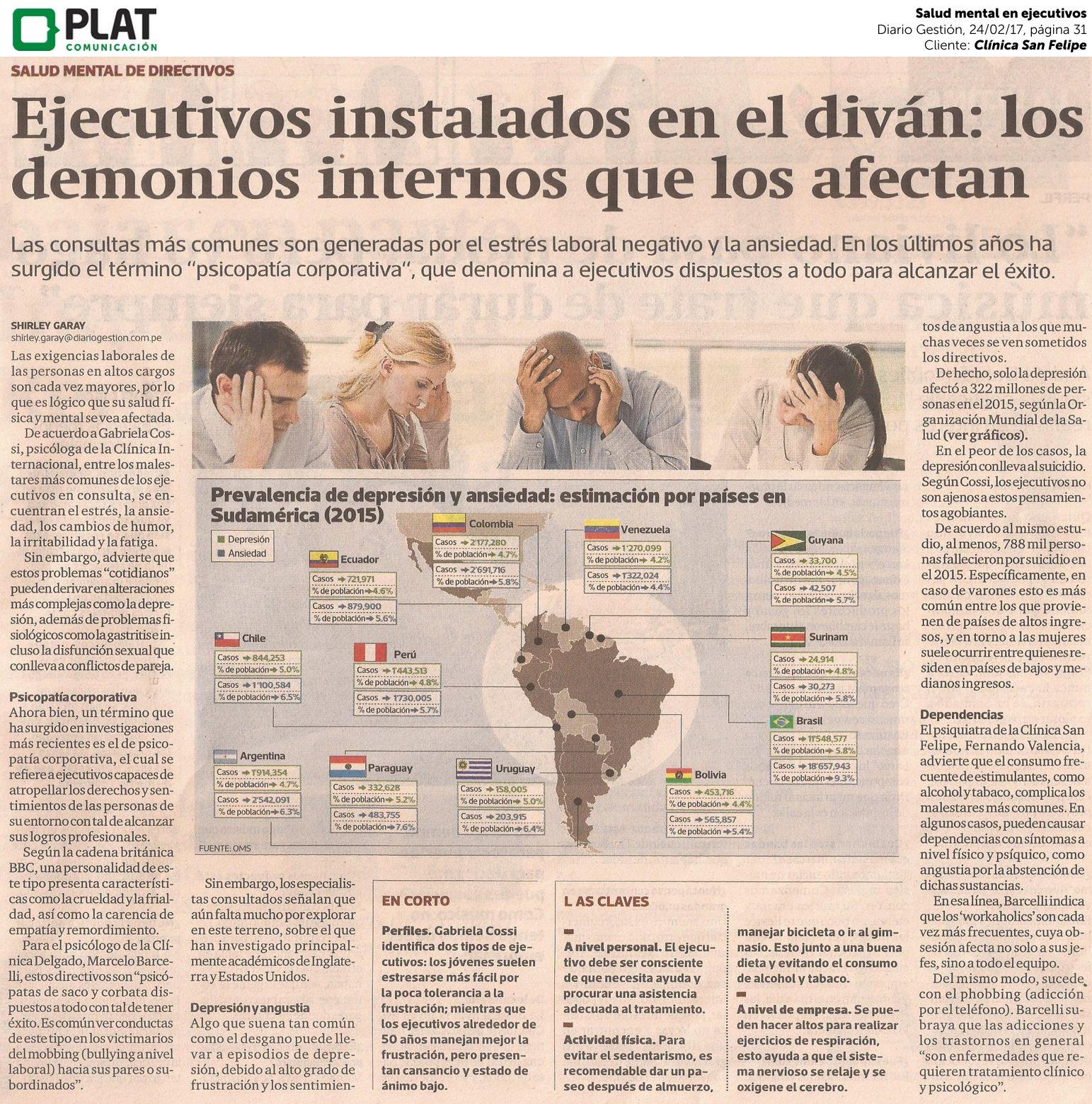 Clínica San Felipe: Salud mental en ejecutivos en el diario Gestión de Perú (24/02/17)