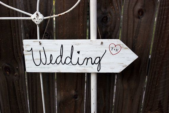 wedding wood arrow sign . whitewash hanging by montanasnow on Etsy, $16.00