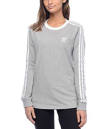 purchase cheap 9e97b b777e adidas 3 Stripe Medium Heather Grey Long Sleeve T-Shirt