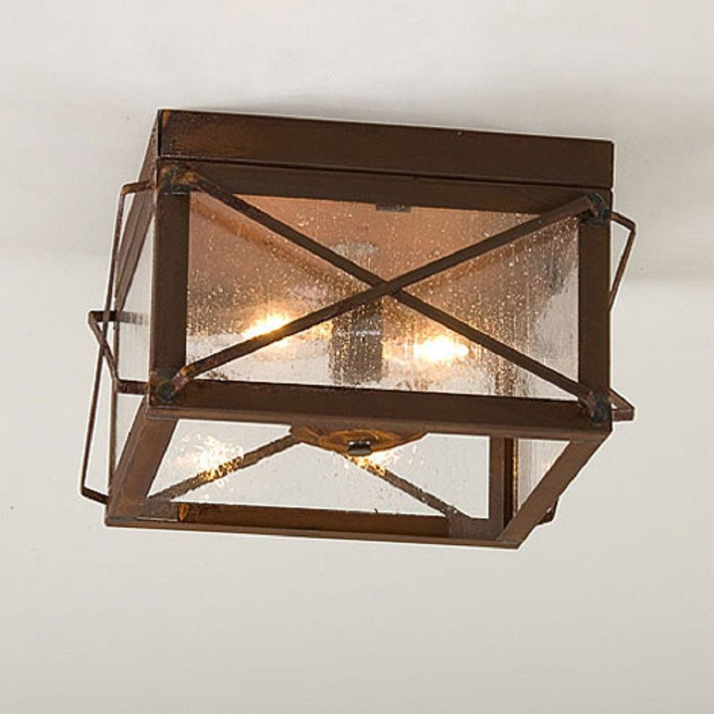 Rustic tin ceiling light with folded bars handcrafted fixture made in usa
