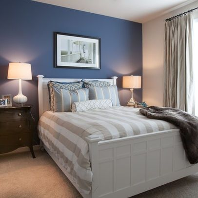 Blue Accent Wall Master Bedroom   With Grey Accents