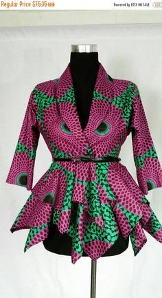 OP verkoop vrouwen Afrikaanse blouse print door JENNYROSSYCLOTHING