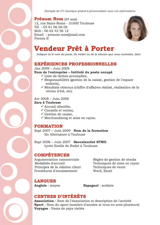 Big Exemple Cv Design Rouge Jpg 652 917 Exemple Cv Cv Vendeur Modele Cv