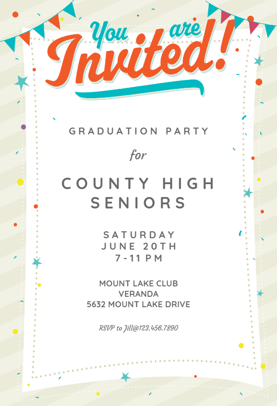 Party Time Graduation Party Invitation Template Free Greetings Island Party Invite Template Graduation Party Invitations Templates Free Party Invitation Templates