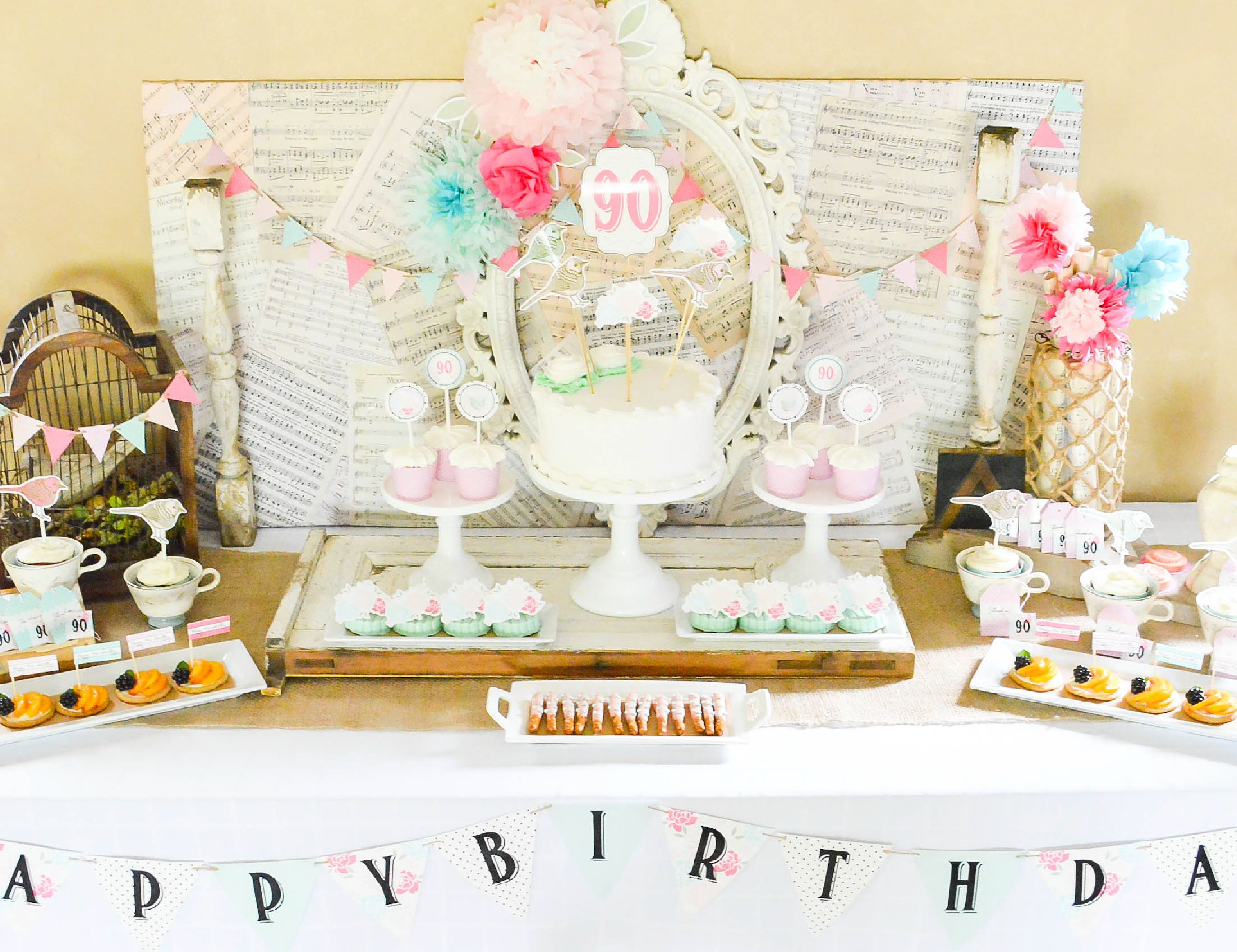 Shabby Chic Dessert Table for a Vintage Shabby Chic 90th birthday
