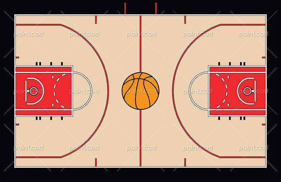 Vector illustration of the basketball court on team ... Nba Basketball Court Floor View