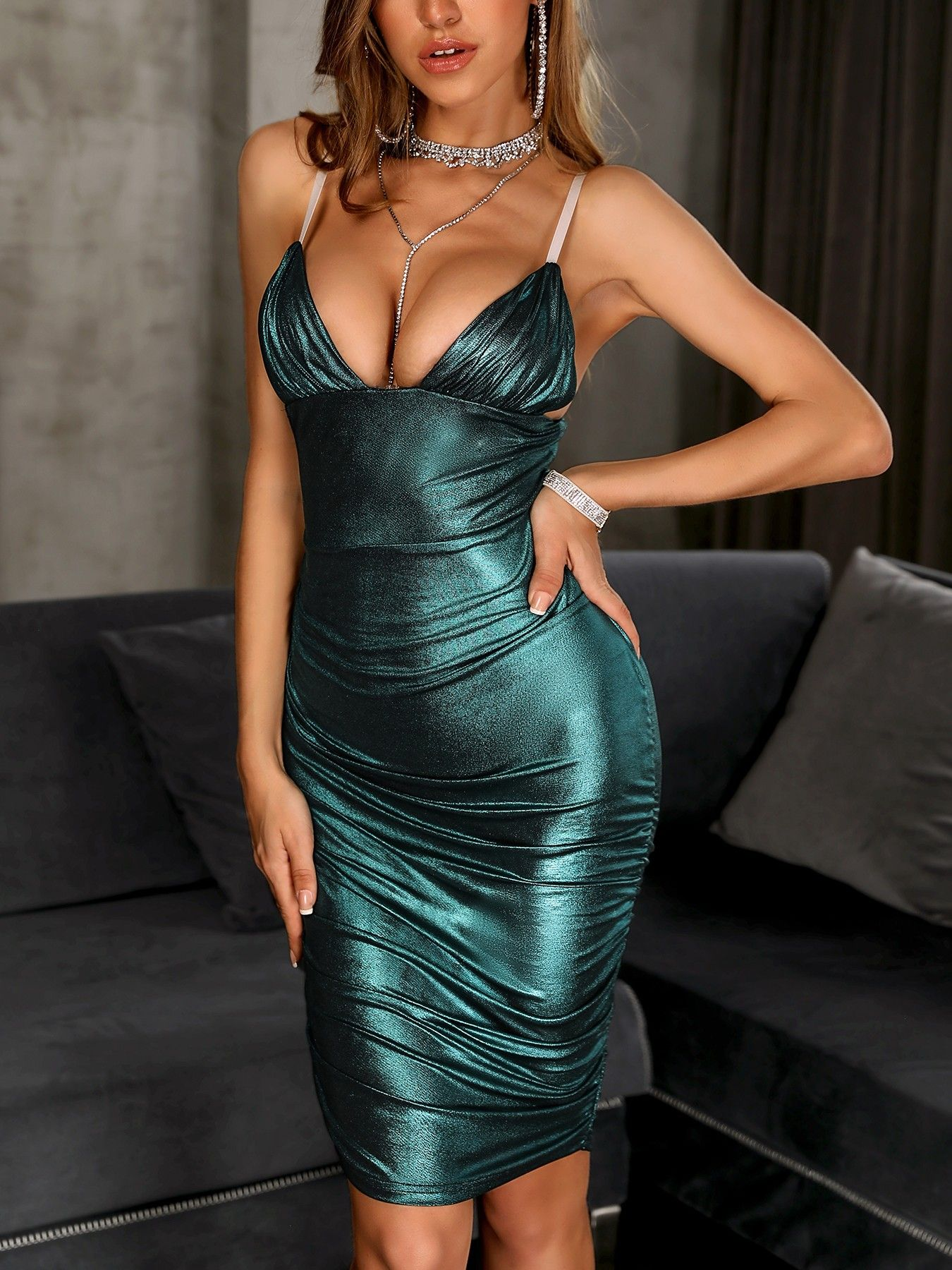 ... sexy women fashion at Boutiquefeel. Shop Party Dresses Glitter  Spaghetti Strap Ruched Design Dress 66d468c0775a