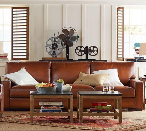 Nice Turner Leather Sofa | Pottery Barn Slanted Area Rug!