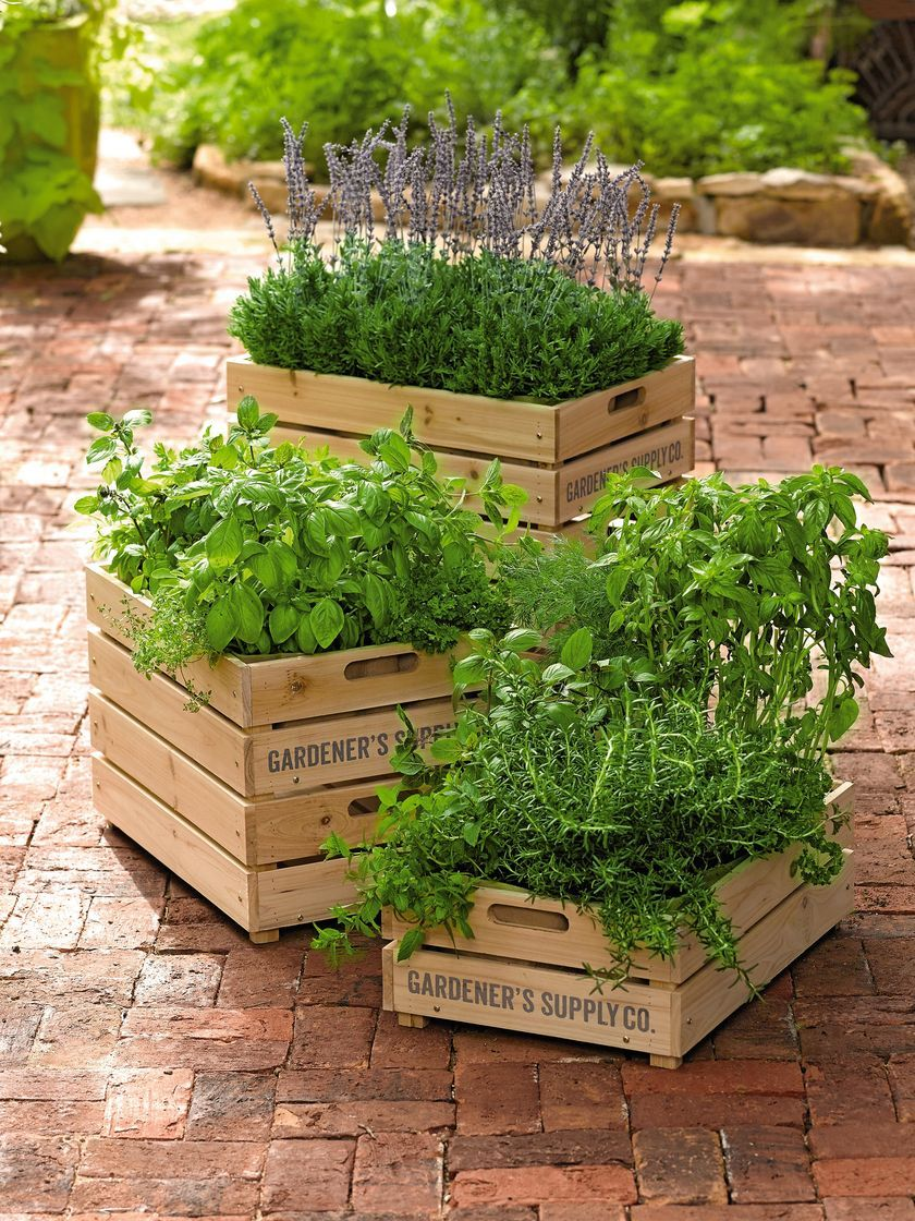 Herb Box Wooden Crate Planter With Liner Gardeners Supply