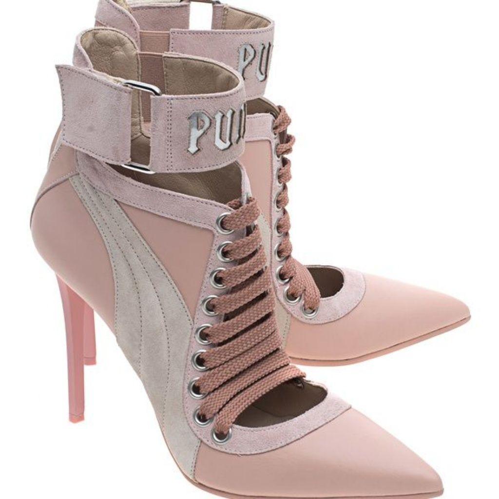 the latest 21357 b79eb Puma Shoes   Puma Rihanna Fenty Blush Pink Lace Up Heels ...