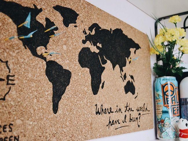 Corkboard world map inspinkle diy projects pinterest corkboard world map inspinkle gumiabroncs Images