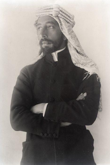 """Prince Feisal, third son of Hussein bin Ali, Sharif of Mecca, who - with """"Lawrence of Arabia"""" as an advisor - led the """"Arab Revolt"""" against the Ottoman Empire, Lowell Thomas"""