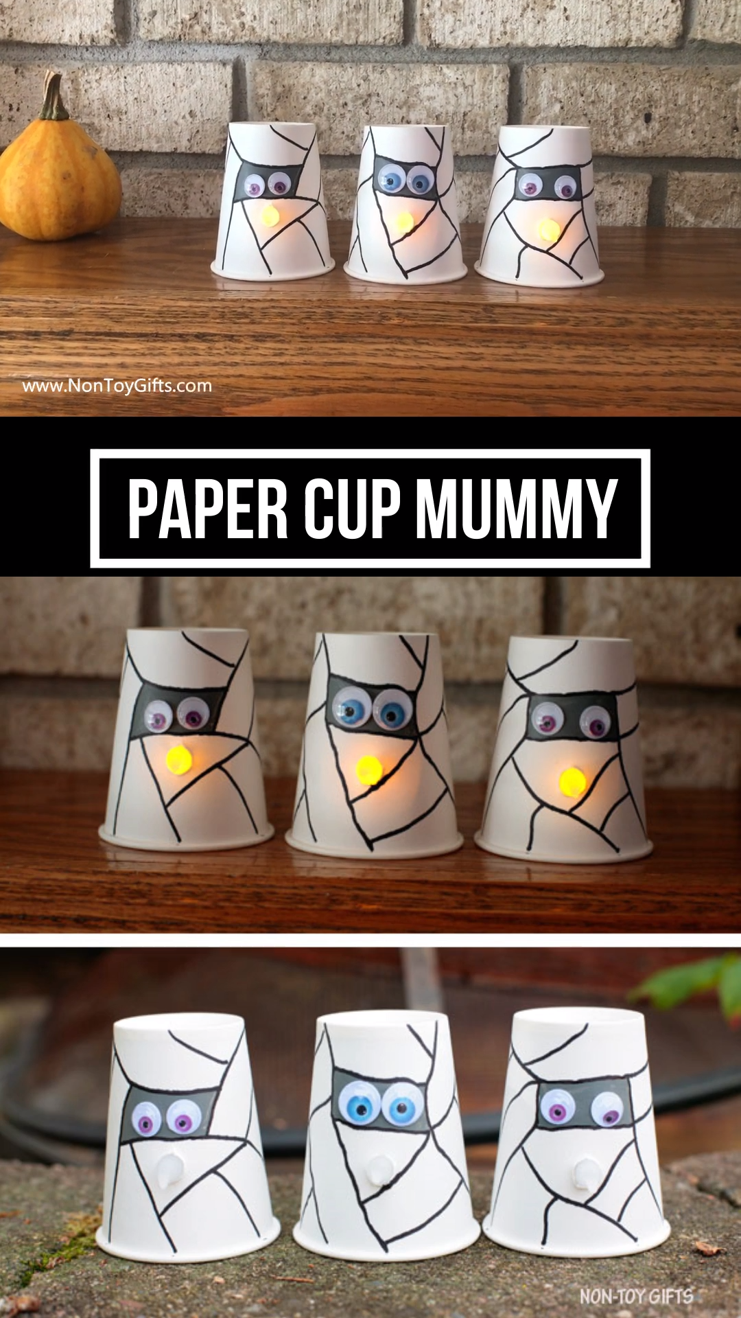 Halloween paper cup mummy craft #preschoolers