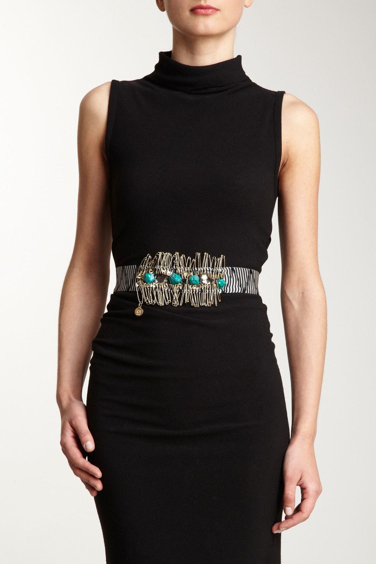 M Missoni Stripe Safety Pin Tie Belt Fashion, Fashion