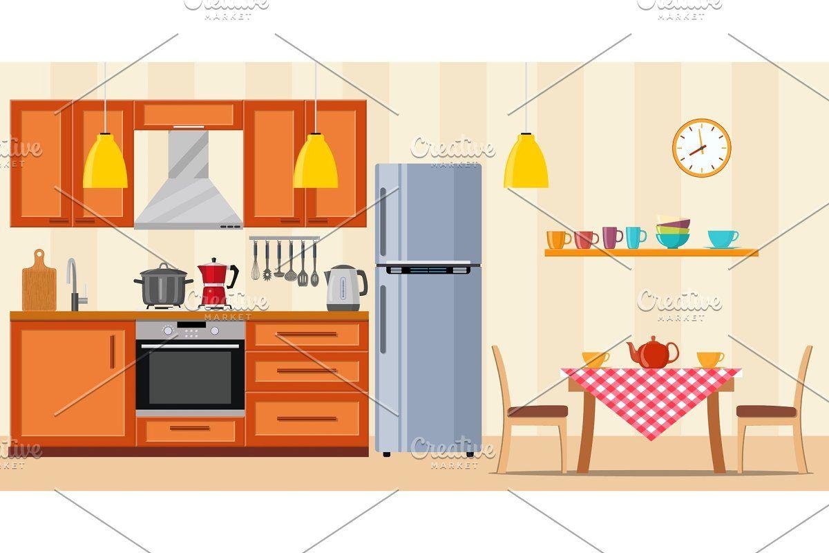 Modern kitchen interior in 4  Kitchen interior, Modern kitchen