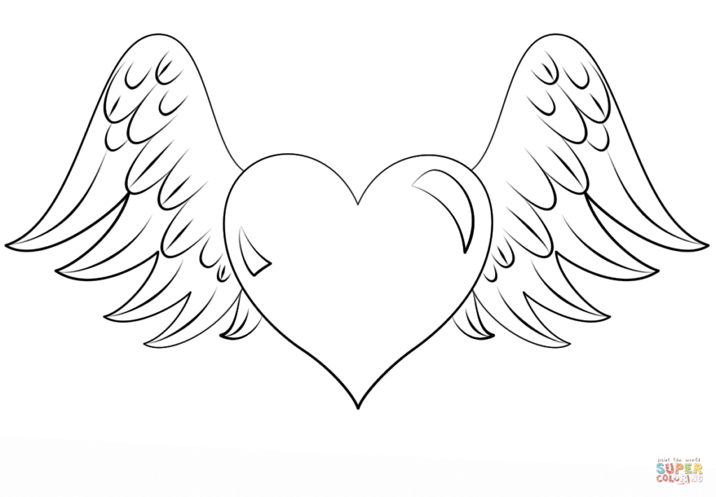 Heart Coloring Pages | Heart coloring pages, Angel ...