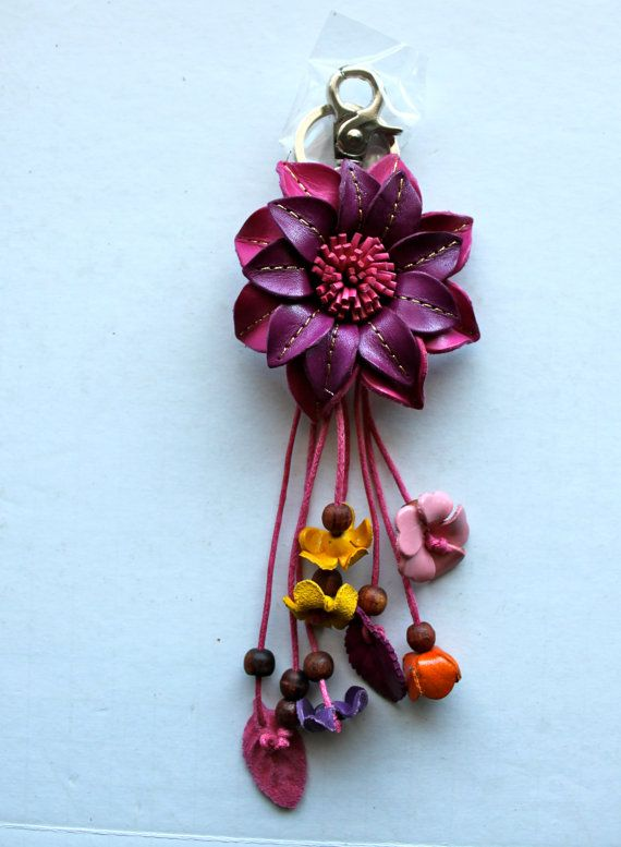 Liz colorful leather flower Bag / Purse Charm Key by LeatherE, $19.00