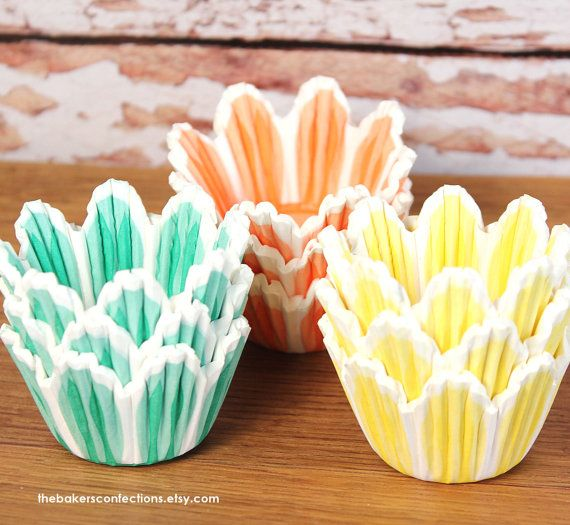 Midi Spring Tulip Cupcake Liners In Orange Yellow And Green 75 Count 25 Each Color Via Etsy