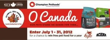O Canada Contest Sponsored By Champion Petfoods Makers Of Orijen
