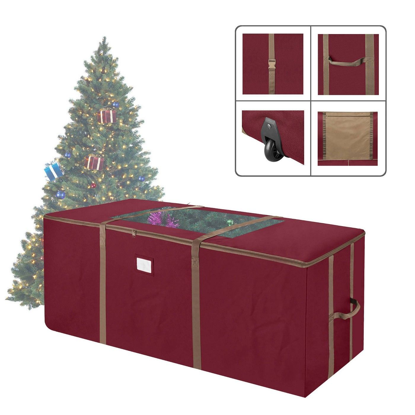 Elf Stor 9 Rolling Christmas Tree Storage Duffel Bag Red Christmas Tree Storage Bag Christmas Tree Storage Christmas Storage