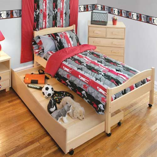 Tempat tidur sorong anak minimalis kayu jati