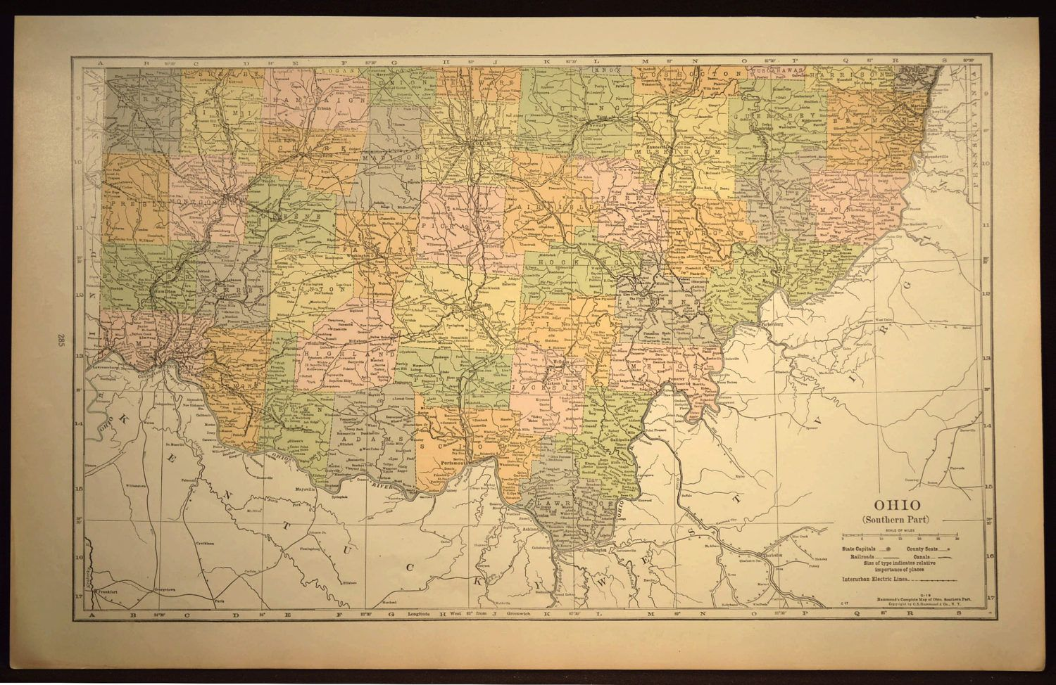 Ohio Map of Ohio Wall Decor Art LARGE Antique Southern South ...