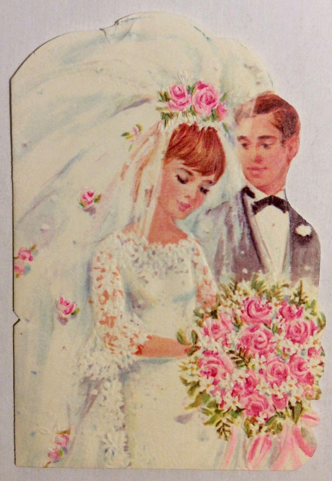 NORCROSS Pretty Bride Handsome Groom Embossed 60s Vintage Wedding Greeting Card