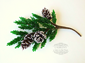 French Beaded Pine Branches and Pinecones - PDF beading Pattern by Lauren's Creations