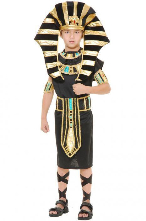 Boys Egyptian King Tut Pharaoh Gold Halloween Fancy Dress Party Kids Costume