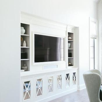 Living Room Cupboard Designs Interesting Living Room Built Ins With Mirrored X Front Cabinet Doors  Design Inspiration