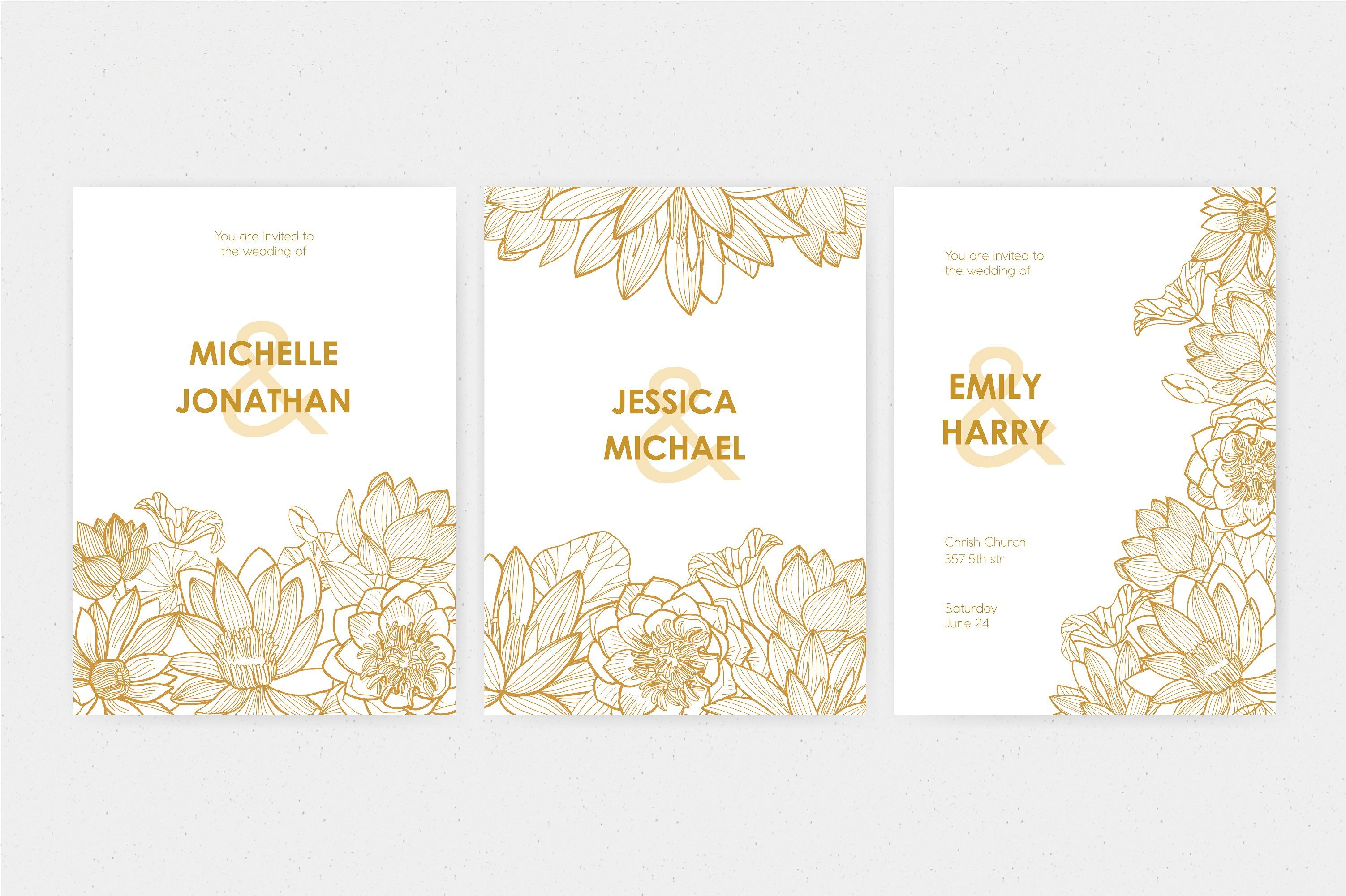 Wedding Invitation With Lotus Flower Yellow Vertical Types