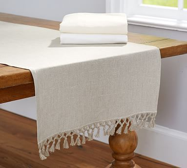 Fringed Linen Knotted Table Runner Table Linens Table Cloth