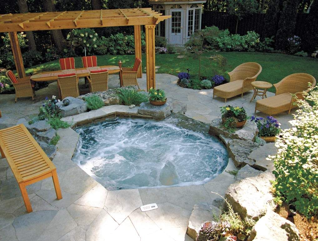 Betz inground spa backyard pinterest backyard hot for Pool design with hot tub
