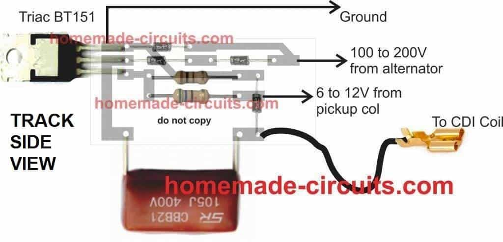 Simple Capacitive Discharge Ignition Cdi Circuit Homemade Circuit Projects Electronic Circuit Design Pcb Design Circuit Design