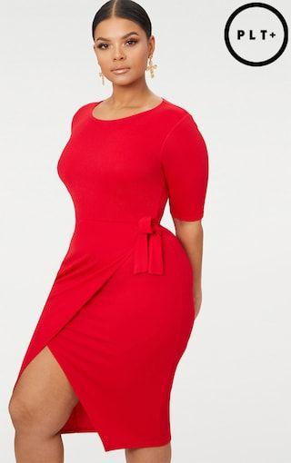 Plus Red Tie Detail Midi Dress Plus Size Prettylittlething Usa