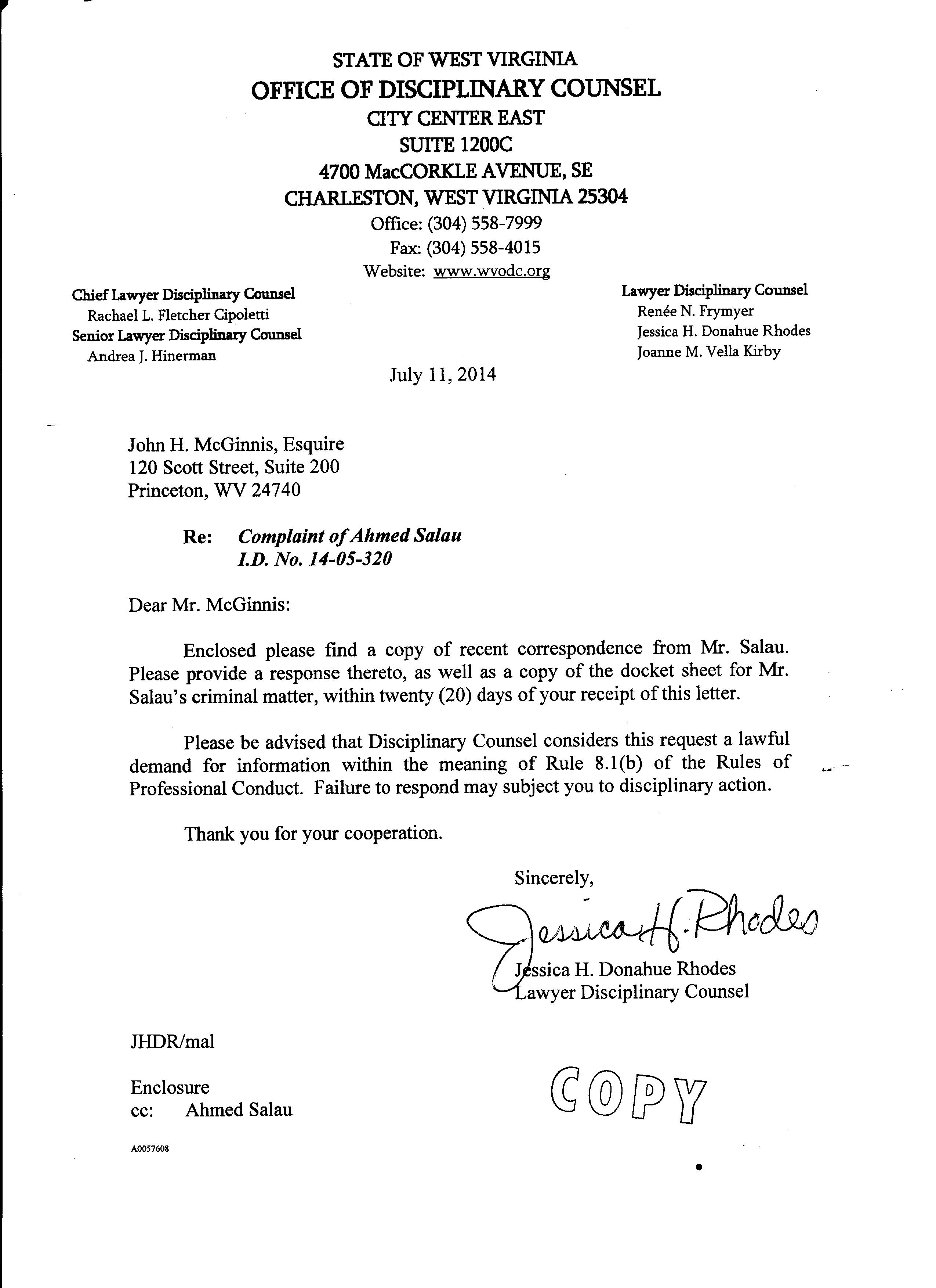 Office Of Disciplinary Counsel Letter To Scott Ash And John Mcginnis